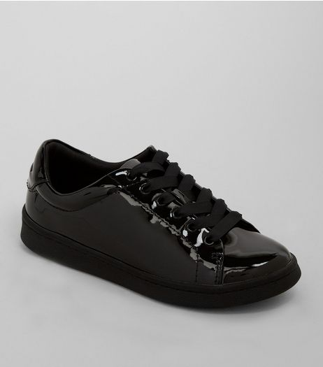 Teens Black Patent Lace Up Trainers | New Look