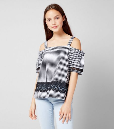 Teens Black Gingham Cold Shoulder Top  | New Look