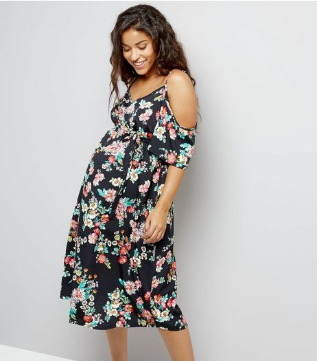 Maternity Black Floral Print Cold Shoulder Dress | New Look