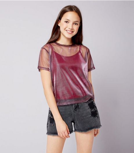 Teens Deep Pink Metallic Mesh Top | New Look