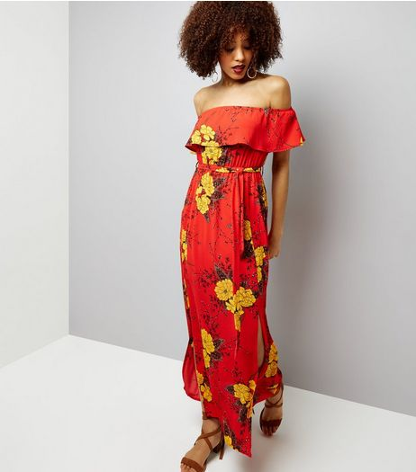 Cameo Rose Red Floral Print Bardot Neck Maxi Dress | New Look