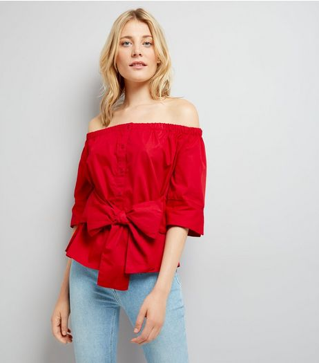 Influence Red Tie Front Bardot Neck Shirt | New Look