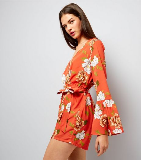 Influence Orange Floral Print Bell Sleeve Playsuit | New Look