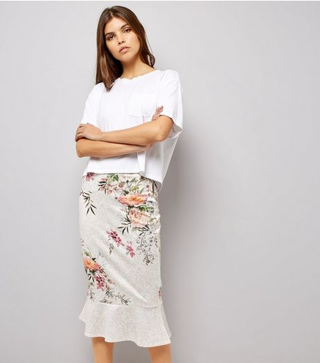 Cream Floral Print Peplum Hem Midi Skirt  | New Look