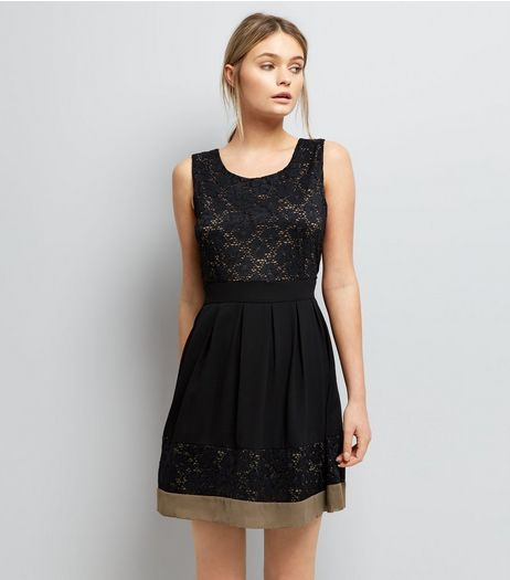 Apricot Black Lace Skater Dress  | New Look