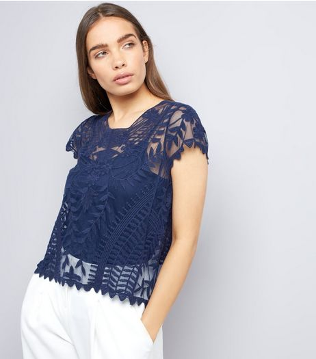 Apricot Navy Embroidered Mesh Cap Sleeve Top | New Look