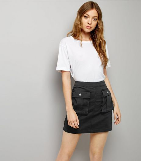 Apricot Black Double Pocket Mini Skirt | New Look