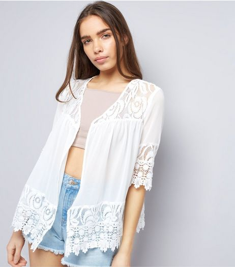 Apricot White Sheer Lace Embroidered Shrug | New Look