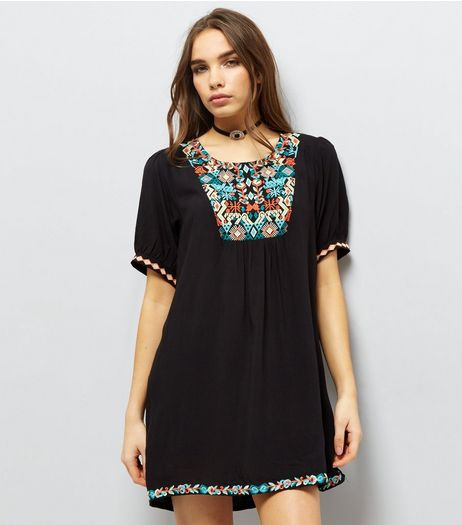 Apricot Black Embroidered Short Sleeve Dress  | New Look