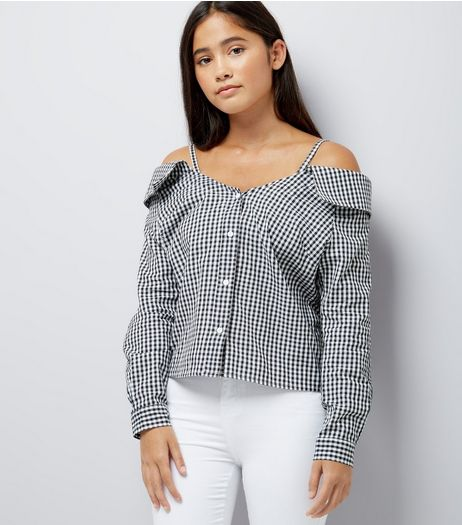 Teens Black Gingham Cold Shoulder Shirt  | New Look
