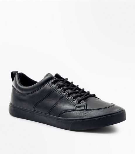 Black Stitch Detail Lace Up Trainers   | New Look