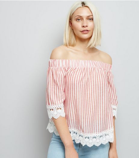 Red Stripe Lace Trim Bardot Neck Top  | New Look
