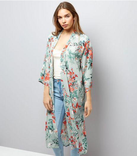 Green Floral Print Longline Kimono | New Look