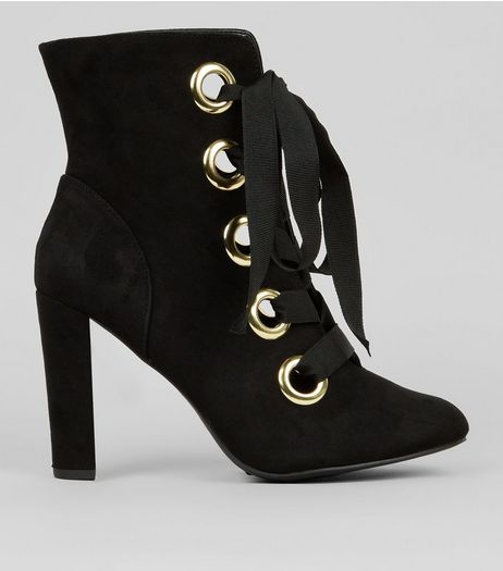 Wide Fit Black Suedette Eyelet Lace Up Heeled Boots  | New Look