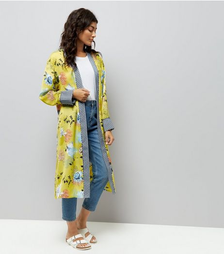 Yellow Satin Longline Kimono | New Look