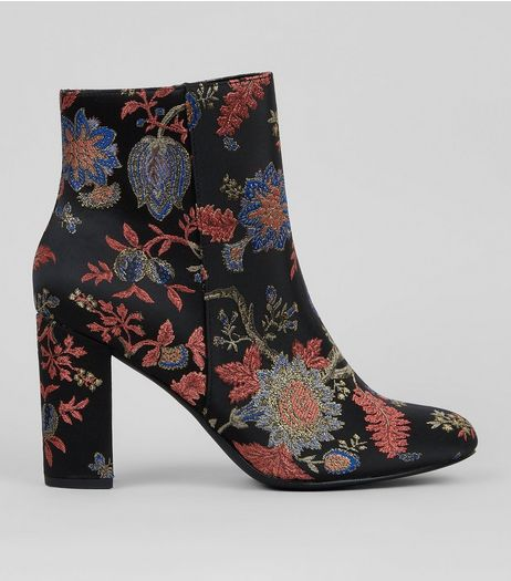 Wide Fit Black Floral Brocade Block Heeled Boots  | New Look