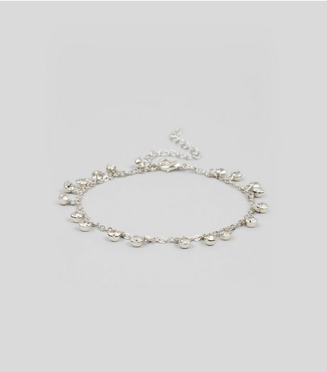 Silver Crystal Drop Anklet  | New Look