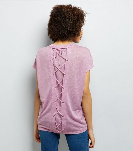 Lilac Lattice Back T-Shirt | New Look