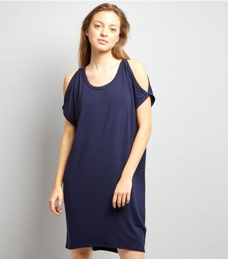 Apricot Navy Cold Shoulder T-Shirt Dress | New Look
