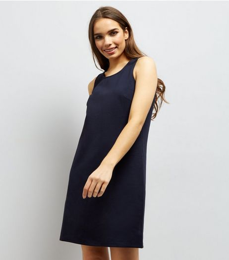 Apricot Navy Sleeveless Shift Dress  | New Look