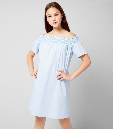 Teens Pale Blue Bardot Neck Dress  | New Look