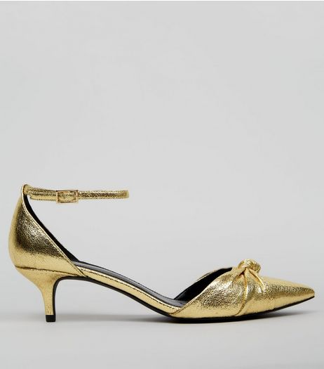 Gold Knot Front Pointed Kitten Heels | New Look