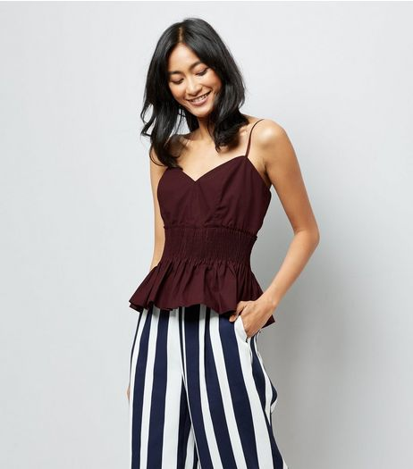 Burgundy Shirred Waist Cami | New Look
