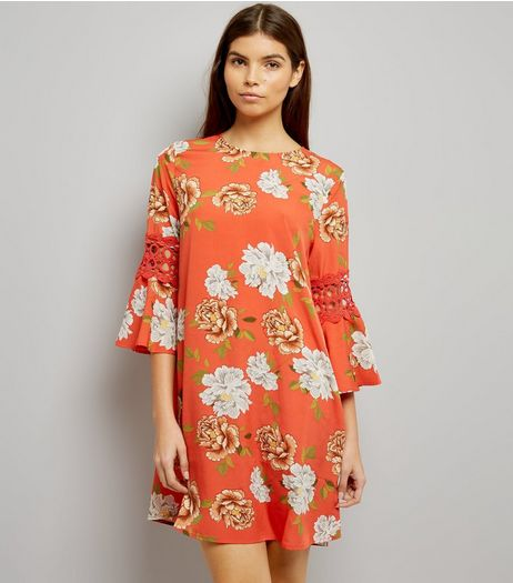 Influence Orange Crochet Trim Floral Print Dress | New Look