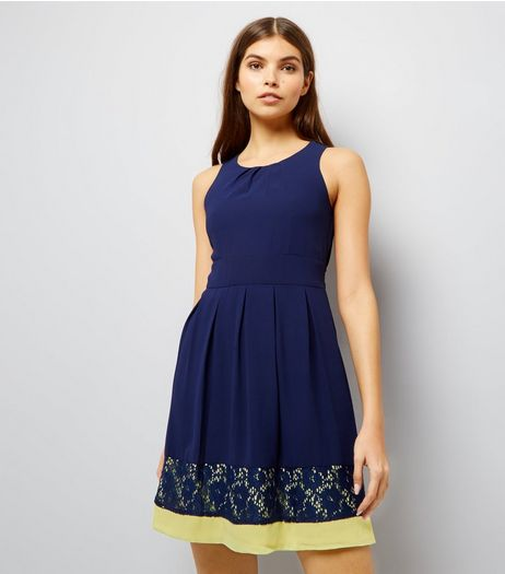 Blue Vanilla Navy Contrast Lace Trim Bow Back Dress | New Look