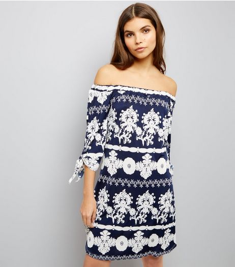 Blue Vanilla Navy Abstract Print Bardot Tunic | New Look