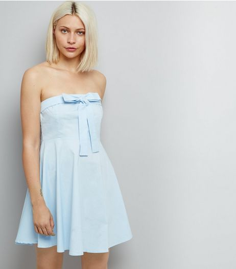 Blue Vanilla Pale Blue Bow Front Dress  | New Look