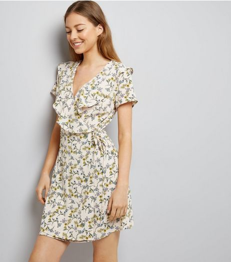 White Floral Print Frill Trim Wrap Front Dress | New Look