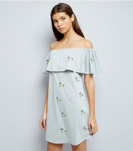 Grey Marl Floral Embroidered Bardot Neck Dress | New Look