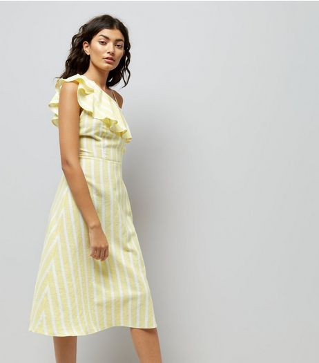 Yellow Stripe One Shoulder Frill Dress  | New Look