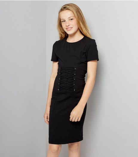 Teens Black Corset Lace Up T-Shirt Dress | New Look