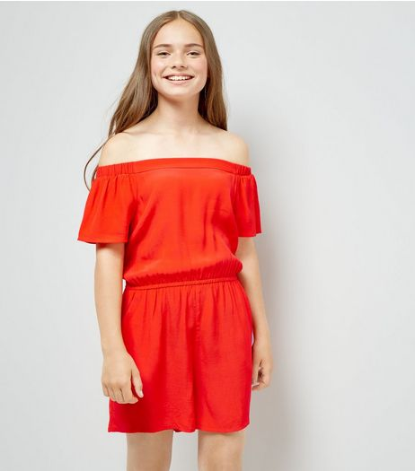 Teens Red Bardot Neck Playsuit | New Look