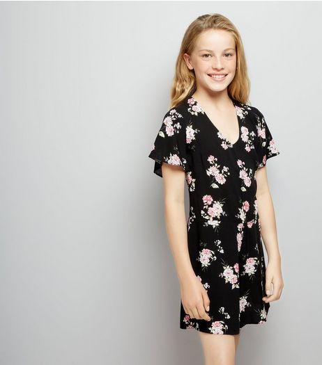 Teens Black Floral Print Playsuit | New Look