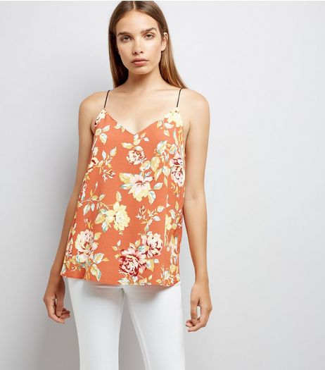 Light Brown Floral V Neck Cami | New Look