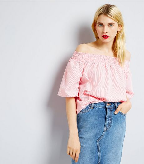 QED Mid Pink Stripe Bardot Neck Top  | New Look
