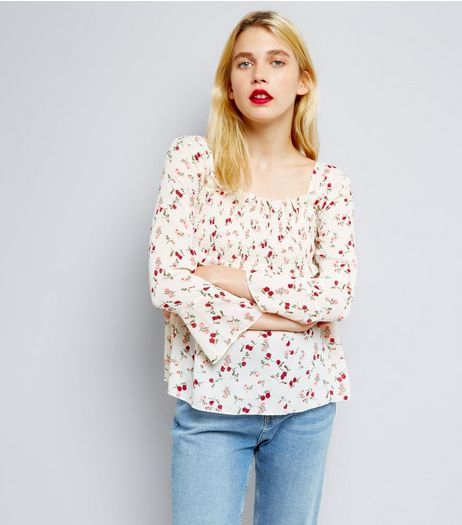 QED Cream Floral Print Shirred Yoke Top | New Look