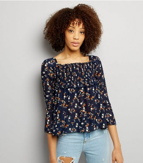 QED Navy Floral Print Shirred Yoke Top | New Look