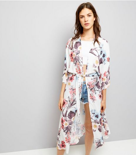 QED White Floral Print Belted Kimono | New Look