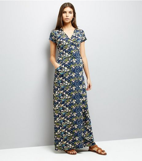 QED Navy Floral Print Wrap Front Maxi Dress  | New Look