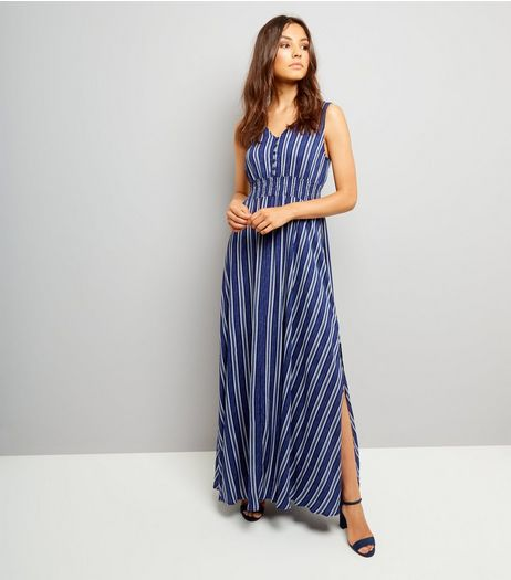 Blue Vanilla Blue Stripe Split Side Maxi Dress | New Look
