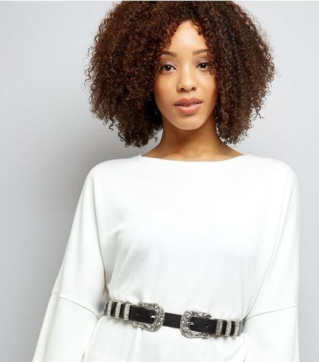Black Double Western Buckle Waist Belt | New Look