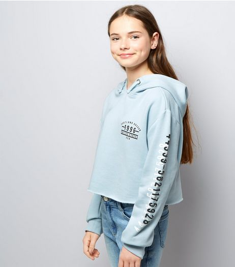 Teens Pale Blue Printed Sleeve Cropped Hoodie | New Look