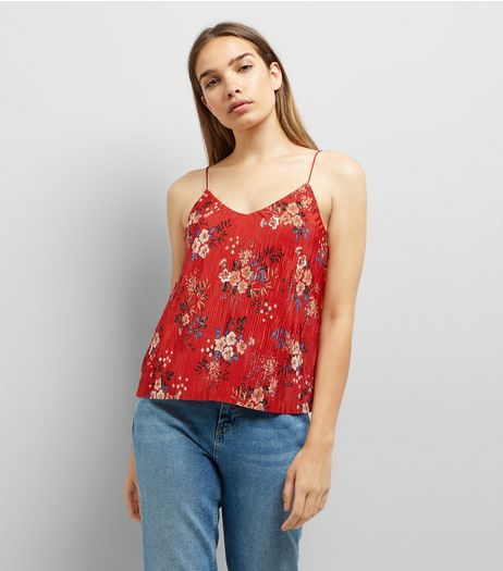Red Floral Print Pleated Cami Top | New Look