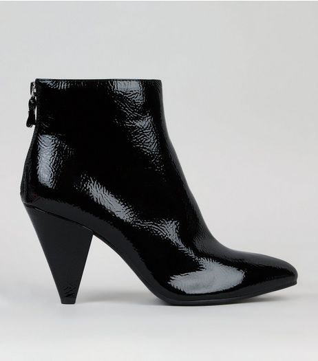 Black Patent Cone Heel Ankle Boots  | New Look
