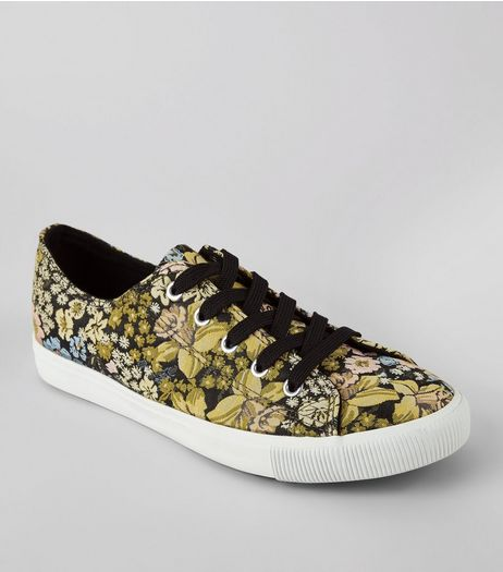 Black Floral Brocade Lace Up Trainers | New Look