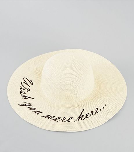 Cream Wish You Were Here Floppy Hat | New Look